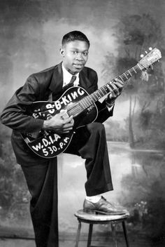 American blues musician, B.B. King got his in music in 1948 at the ripe age of 23 when he performed on Sony Boy Williamson's radio program on KWEM out of West Memphis.