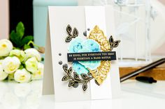 I used the combination of light and dark blues to stamp the roses for my project using Vintage Roses stamp set.