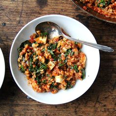 A Streamlined, One-Pot Wonder Risotto—the Ottolenghi Way: Farro Risotto with Greens and Feta // Food52