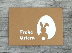 Folded card ** rabbit + egg ** by ZWEIFARBIG Kraft paper greeting card Easter Easter greetings Kraft paper card Easter card Easter wishes Happy Easter - Frohe Ostern Ancient English, Easter Story, Happy Easter, Easter Bunny, Easter Wishes, Holiday Break, Kraft Paper, Pin Collection, Diy And Crafts