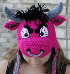 Ollie the Oxen Bull (Angry or Cute) All Sizes pattern by Boomer Beanies Ravelry: Ollie the Oxen Bull Easy Crochet Hat, Crochet Kids Hats, Crochet Girls, Crochet Baby Clothes, Crochet Beanie, Crochet Crafts, Yarn Crafts, Crochet Projects, Knit Crochet