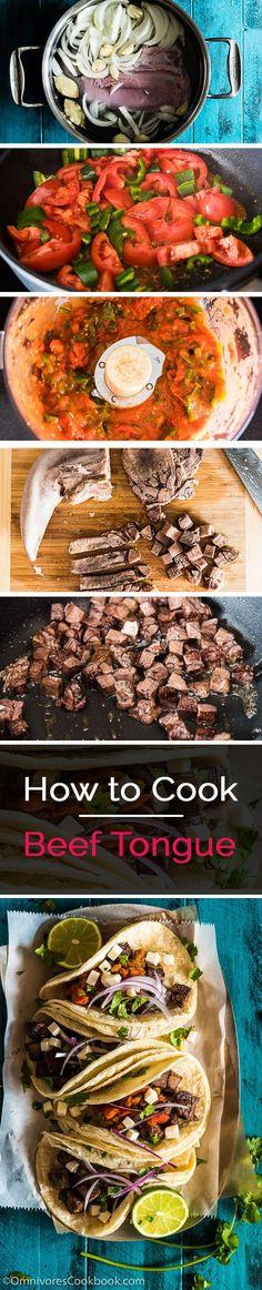Three beef tongue recipes, including Tacos de Lengua, and Chinese Beef Tongue Salad | omnivorescookbook.com