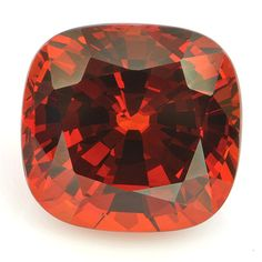 A rare form of garnet with an unusually high index of refraction, which has always been highly desired by gemstone collectors and jewelry designers. It was introduced to the world about 200 years ago when it was discovered in in Spessart, Bavaria. And while in the gem trade the name Spessartite is more frequently use, a lot of people prefer to call it Mandarin garnet, because of it's color. And we can't blame them. Just look at this fiery orange Mandarin garnet cushion weighing 10.32 carat.