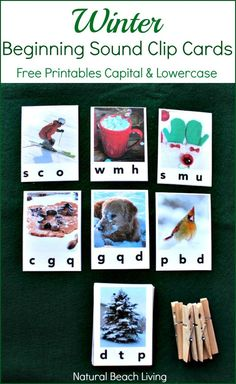 Wonderful Winter beginning sound clip cards, Free printables in Capital and lowercase alphabet. Perfect for hands on learning and letter sounds practice.
