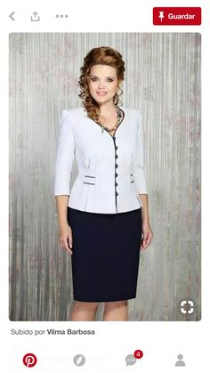 White blouse with black trimming on collar & the front and a matching black skirt Dress Suits, I Dress, Couture, Business Attire, Office Outfits, Work Attire, African Dress, Suits For Women, African Fashion