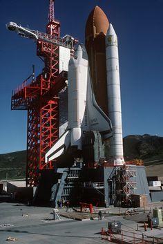 OV-101 Enterprise at Vandenberg AFB, California, 1985. The multi-billion dollar facility to launch the Shuttle into polar orbits was mothballed.