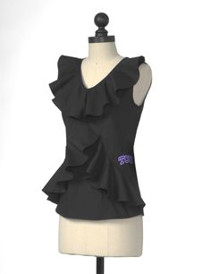 The Texas Christian University Ruffle Front Sleeveless Top in Black $42.00