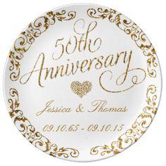 50.o Placa decorativa del aniversario de boda de Platos De Cerámica