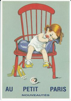 Little girl sitting in red chair Pub Vintage, Vintage Children's Books, Vintage Postcards, Vintage Advertising Posters, Old Advertisements, Images Vintage, Vintage Pictures, Retro Kids, Little Doll
