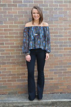 Peacock Print Off-The-Shoulder Top with Relaxed Fit