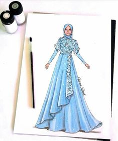 Gaun pesta Dress Design Sketches, Fashion Design Sketchbook, Fashion Design Drawings, Fashion Drawing Dresses, Fashion Illustration Dresses, Muslim Fashion, Hijab Fashion, Muslimah Wedding Dress, Gown Pattern