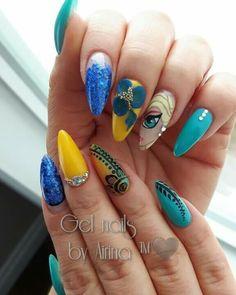 Frozen nail art With had painted Elsa. Nail innovationz gel nail products