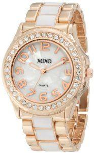XOXO Women's XO5472 Rose Gold with White Epoxy Analog Bracelet Watch