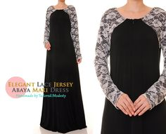 Floral Lace Sleeves Classic Black Jersey Islamic Abaya Maxi Dress - Size M/L or Size 1X/2X (6111/2937) FREE SHIPPING! by Tailored2Modesty on Etsy