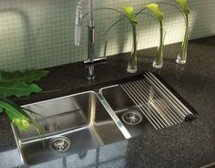 Franke's Roller Mat is a popular accessory. Shown here with sink and faucet. Franke Sink Accessories, Kitchen Accessories, Kitchen Countertops, Kitchen Appliances, European Kitchens, Kitchen And Bath, Kitchen Sinks, Sink Faucets, Kitchen Design