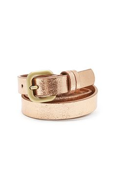 metallic faux leather skinny belt