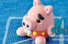 Petit cochon Kawaii en pâte Fimo (tuto image)