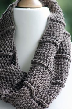 Free Knitting Pattern 2 Row Repeat Cowl - An easy two row repeat creates the great texture of the Ridge and Furrow Cowl by Balls to the Walls Knits.