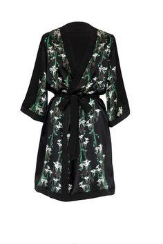 Hermione de Paula 'Black Piano Key Lily' Midi Robe Silk Wedding Dressing Gown 1
