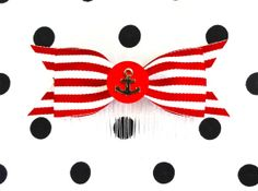 Anchor Cutie Stripes Hair Comb  Red by PunkUpBettie on Etsy, $10.50