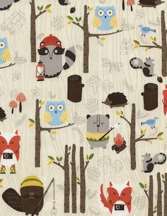 Tula Campy Fabric - Woodland Animals Fun Cream -  Timeless Treasures - FREE SHIPPING over 50.00