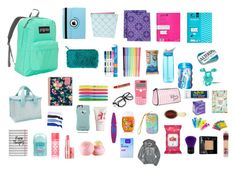 """""""what's in my backpack 2016"""" by kylie-shain on Polyvore featuring beauty, JanSport, Ulster Weavers, Natico, Yoobi, Vera Bradley, Paper Mate, cutekawaii, Day Designer and CamelBak"""