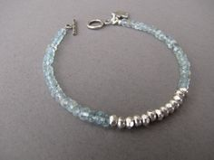 Aquamarine and Thai Silver Bracelet AAA Gemstones by DezineStudio, $48.00