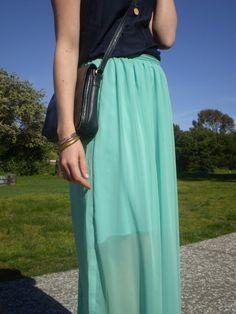 Mint Chiffon Maxi Skirt Offsquare Chiffon Maxi Skirt