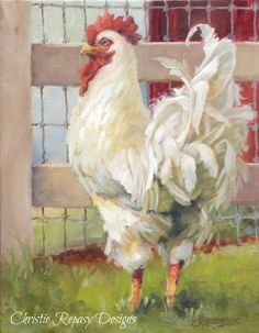 Chateau De Fleurs: Rooster Painting by Christie Repasy Rooster Painting, Rooster Art, Rooster Decor, Chicken Painting, Chicken Art, Food Painting, White Chicken, Farmhouse Paintings, Chicken Pictures
