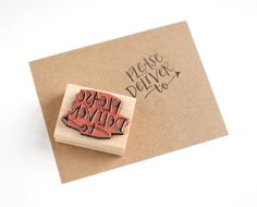Rubber Stamp // Please Deliver To, Hand Lettering, DIY Packaging, Art Mount Stamp, 1.5 x 2