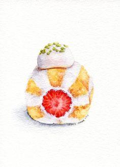 Pastel de fresa 3  ORIGINAL pintura arte de por ForestArtStudio