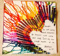 DIY Crayon on Canvas Art! I super glued crayons to the canvas, then blow dried to melt the crayons and wrote one of my favorite bible verses in the heart <3