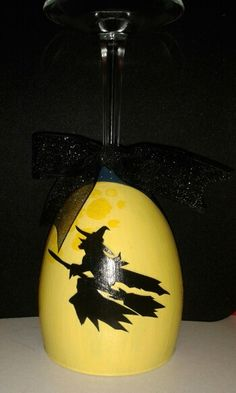Hand painted witch wine glass candle holder!
