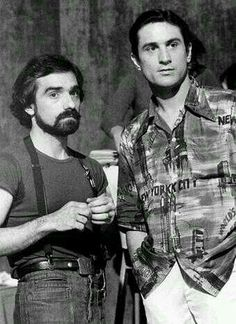 Martin Scorsese and Robert DeNiro taking a break during filming