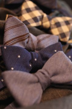 Designer Bow Tie Collection for Winter 2015. Self Tie Bow Ties Made from Wool in 5 Patterns. Polka Dots, Gingham, Solid, Double Stripes and Pencil Stripes.