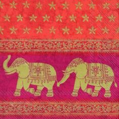 Marani Red Red Elephant Indian paper napkins 33 cm square 3 ply lunch size & elephant napkins | Inspiration Board for Esme\u0027s India-Themed ...