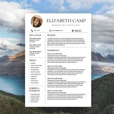 Resume Template with Headshot Photo by Kingdom Of Design on @creativemarket Modern Resume Template, Resume Template Free, Creative Resume Templates, Design Templates, Resume Folder, Job Resume, Resume Tips, Business Resume, Resume Ideas
