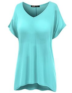 Thanth Womens Comfy Loose Fitting Short Sleeve Tunic Top