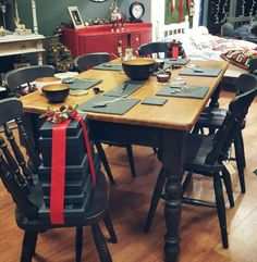 Farmhouse Table and chairs handpainted using Annie Sloan Graphite and Dark wax. Transformed by Love Restored.