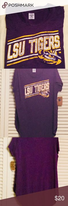 LSU Tee-shirt Nice short sleeve t-shirt with 10 inch slits on each side. Materials 60% cotton 40% polyester. Knights apparel Tops Tees - Short Sleeve