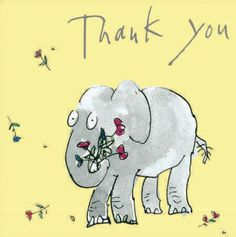 Elephant with a bouquet #ThankYou card from Woodmansterne