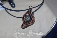 Labradorite hand woven in copper leaf necklace/statement
