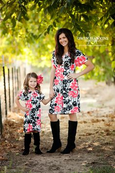 Matching mother/daughter dress...Black Coral Floral | M very wants us to match one day. :)
