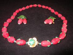 Vintage Murano Glass Sugared Strawberry by thelazydogantiques