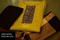 Semi stitched Salwar set(SIZE UPTO 44)(CODE:FB7033)Material - Top -soft chanderi silk bottom-2.25m cotton silk Dupatta-Chanderi silkSTATUS:SOLD  09 March 2017