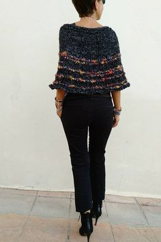 Lana, Textiles, Denim, Knitting, Chic, Outfit, Style, Fashion, Crochet Poncho