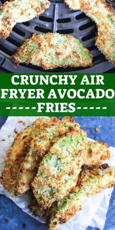 Crunchy avocado fries made in your air fryer! Low carb and keto friendly this ap. Crunchy avocado fries made in your air fryer! Low carb and keto friendly this appetizer will become your go to recipe for party! Great for kids too, e. Air Fryer Recipes Vegetarian, Air Fryer Recipes Snacks, Air Fryer Recipes Low Carb, Air Frier Recipes, Air Fryer Dinner Recipes, Cooking Recipes, Healthy Recipes, Keto Recipes, Keto Snacks