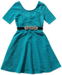 Bloome Girls' Belted Textured Dress - Kids - Macy's