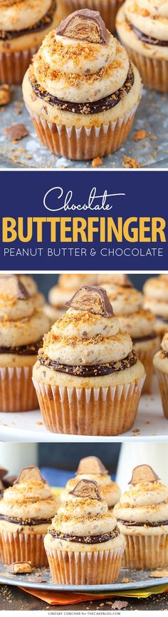 Butterfinger Cupcakes - the ultimate Butterfinger cupcake recipe! Peanut butter cupcakes, chocolate ganache and peanut butter frosting with crushed Butterfingers. Yummy Cupcakes, Cupcake Cookies, Butter Cupcakes, Butter Frosting, Mocha Cupcakes, Gourmet Cupcakes, Strawberry Cupcakes, Flower Cupcakes, Velvet Cupcakes