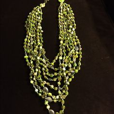 Silpada Green Multi-Strand Beaded Necklace Discontinued Green Abalone Silpada necklace. 8-strands of beautiful stone beads. Silpada Jewelry Necklaces